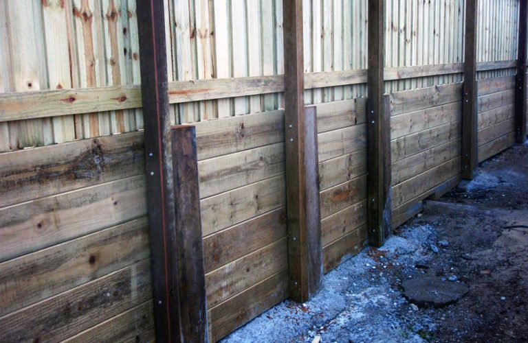 Sleeper Retaining Wall & Fence