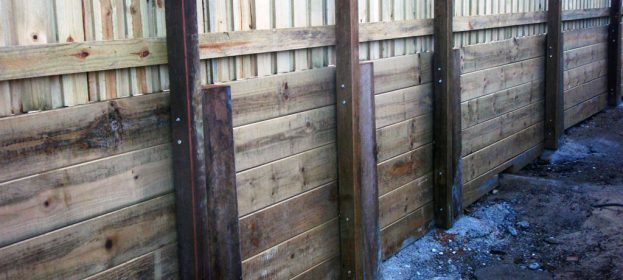Sleeper Retaining Wall & Fence
